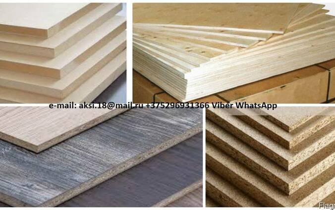 Chipboard, laminated chipboard, MDF, HDF, plywood